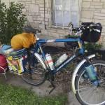 bike with bike trailer fully loaded