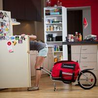 bike trailer parked in kitchen